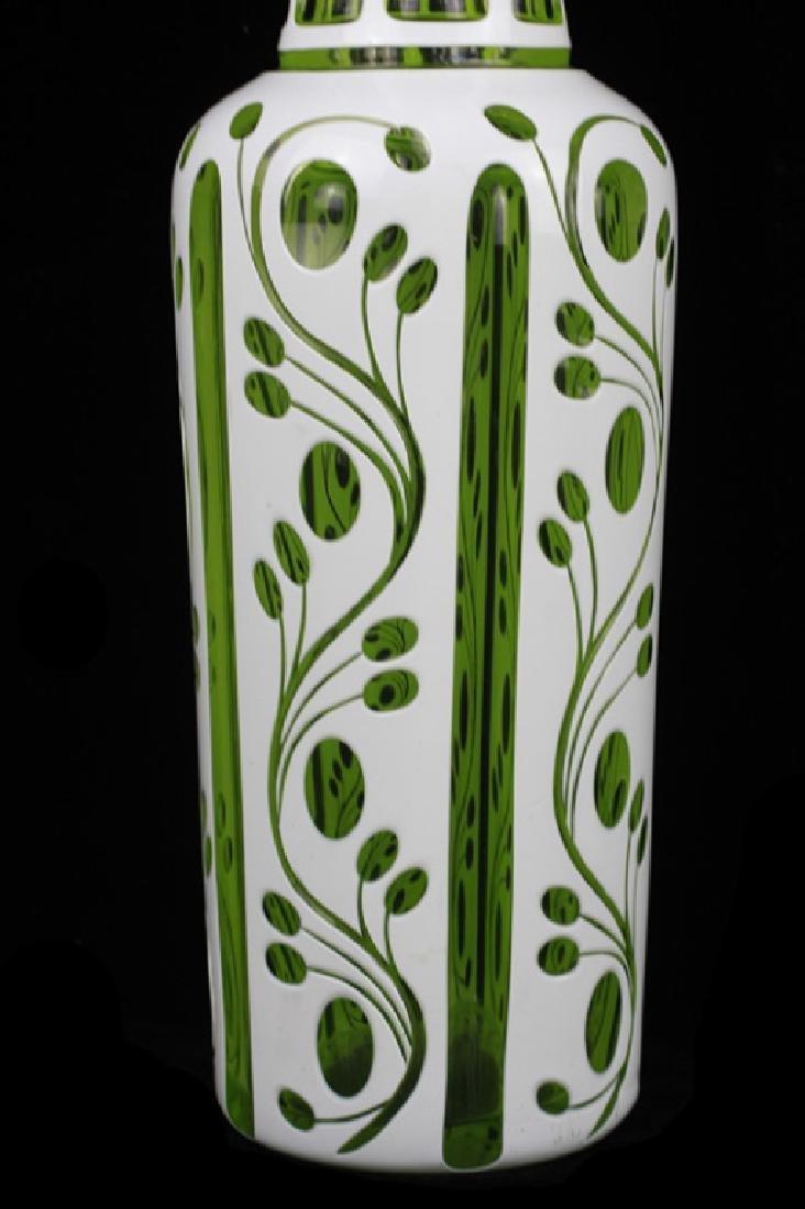 Pair of 19thc Bohemian Green Glass Vases - 6