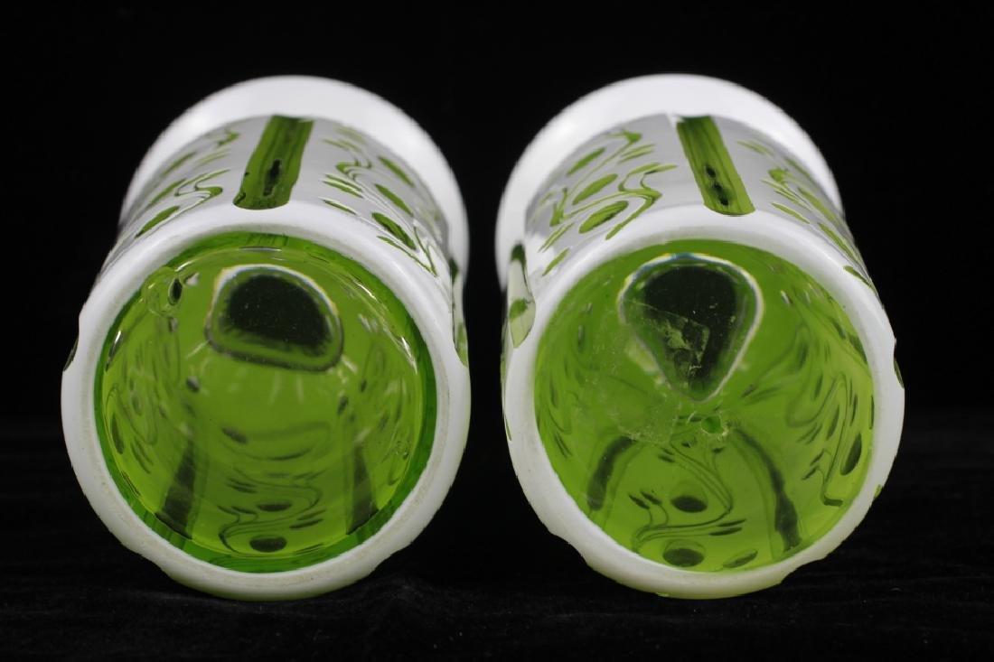 Pair of 19thc Bohemian Green Glass Vases - 7