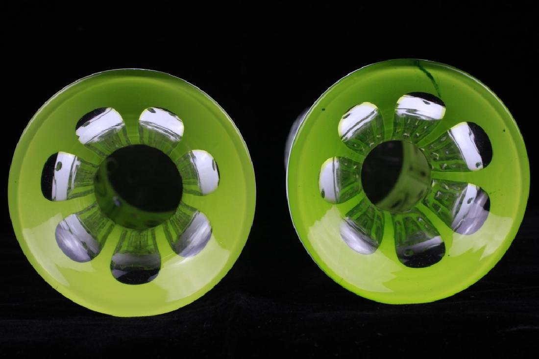 Pair of 19thc Bohemian Green Glass Vases - 8