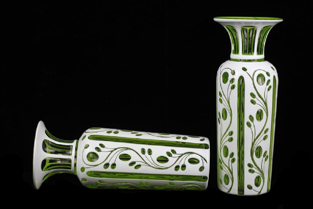 Pair of 19thc Bohemian Green Glass Vases - 9