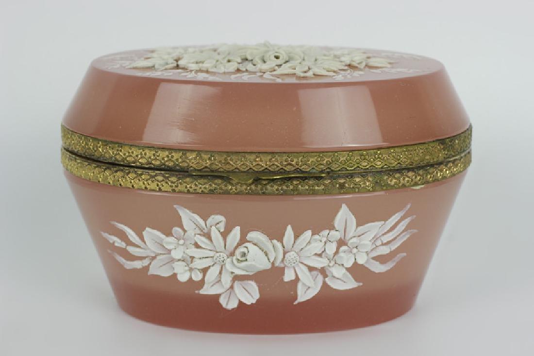 19thc Bohemian Glass Box w/ Porcelain Decoration