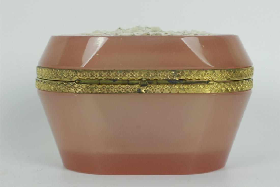 19thc Bohemian Glass Box w/ Porcelain Decoration - 2