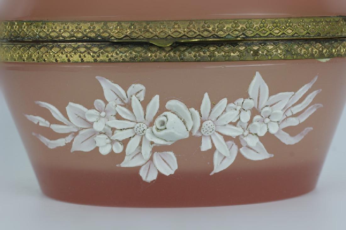 19thc Bohemian Glass Box w/ Porcelain Decoration - 3