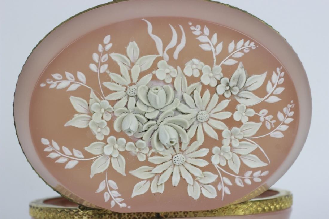 19thc Bohemian Glass Box w/ Porcelain Decoration - 4