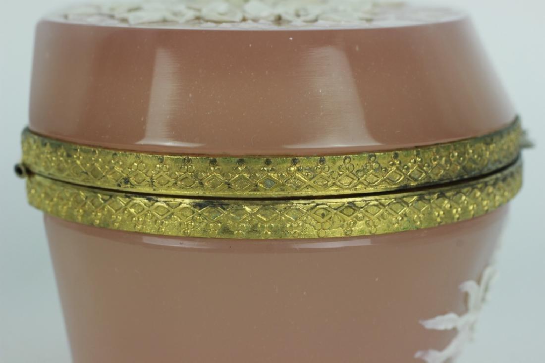 19thc Bohemian Glass Box w/ Porcelain Decoration - 5