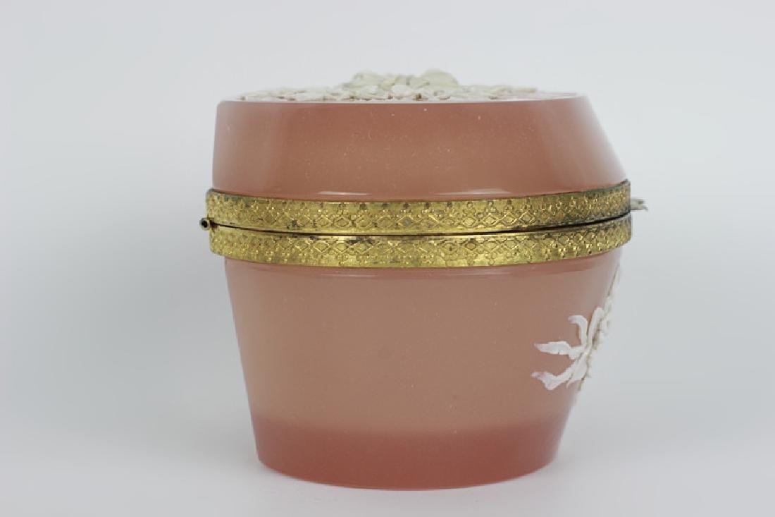 19thc Bohemian Glass Box w/ Porcelain Decoration - 9