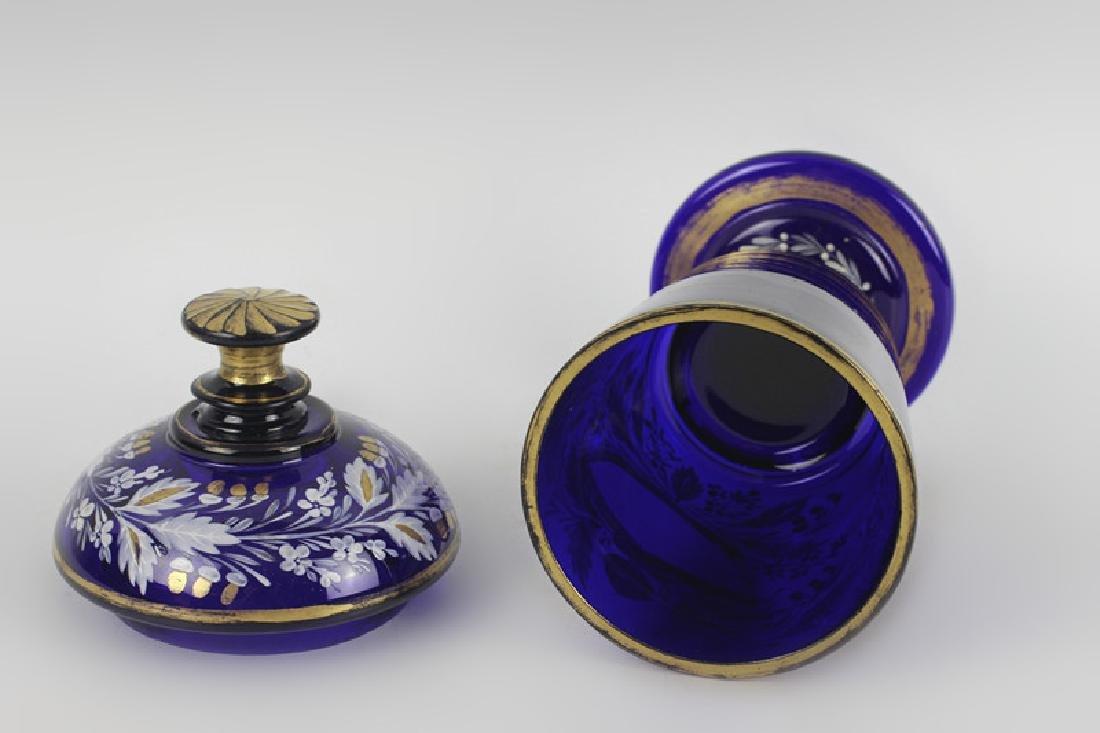 Early Cobalt Blue Covered Vase - 10