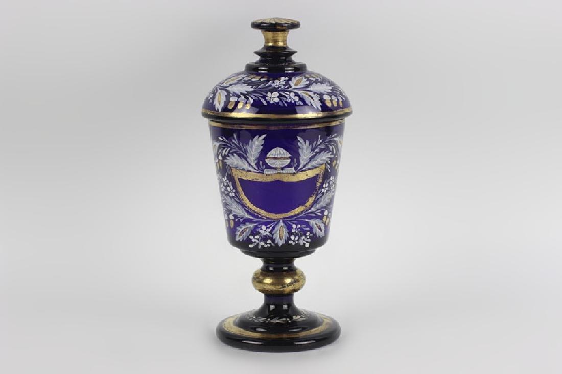Early Cobalt Blue Covered Vase