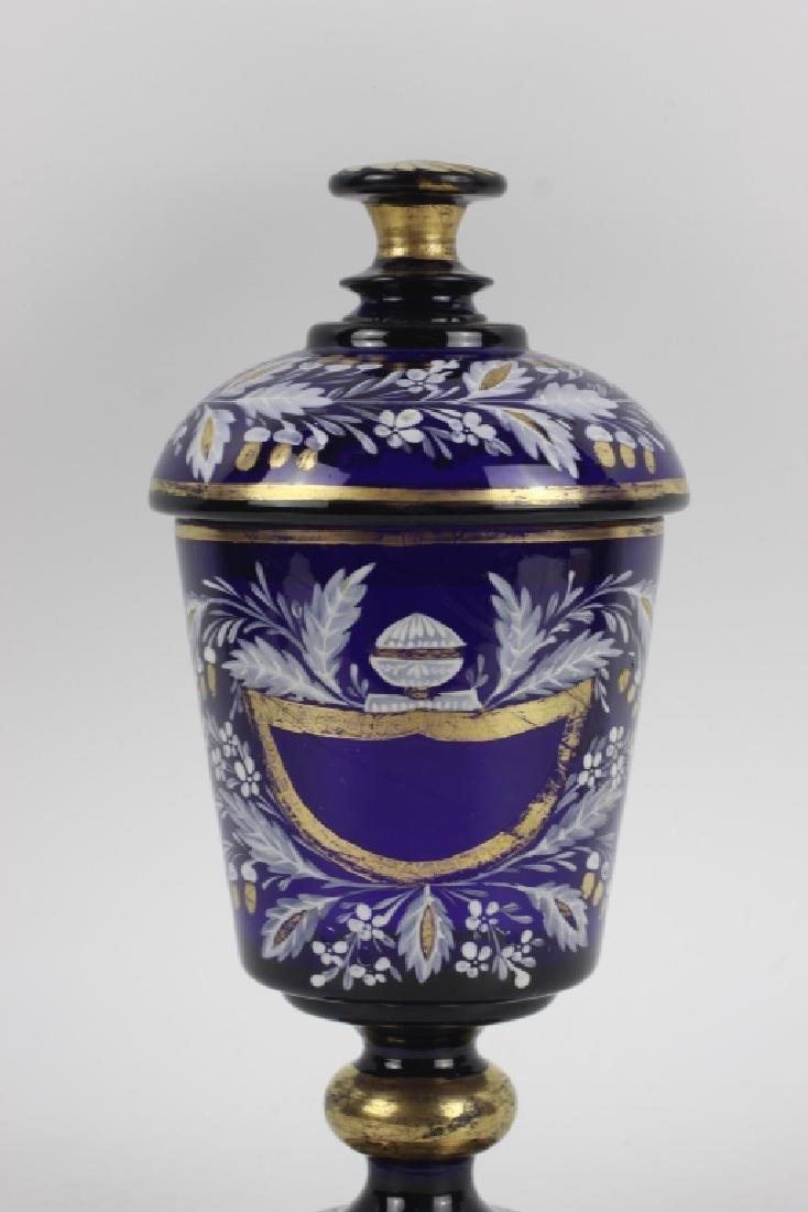 Early Cobalt Blue Covered Vase - 2