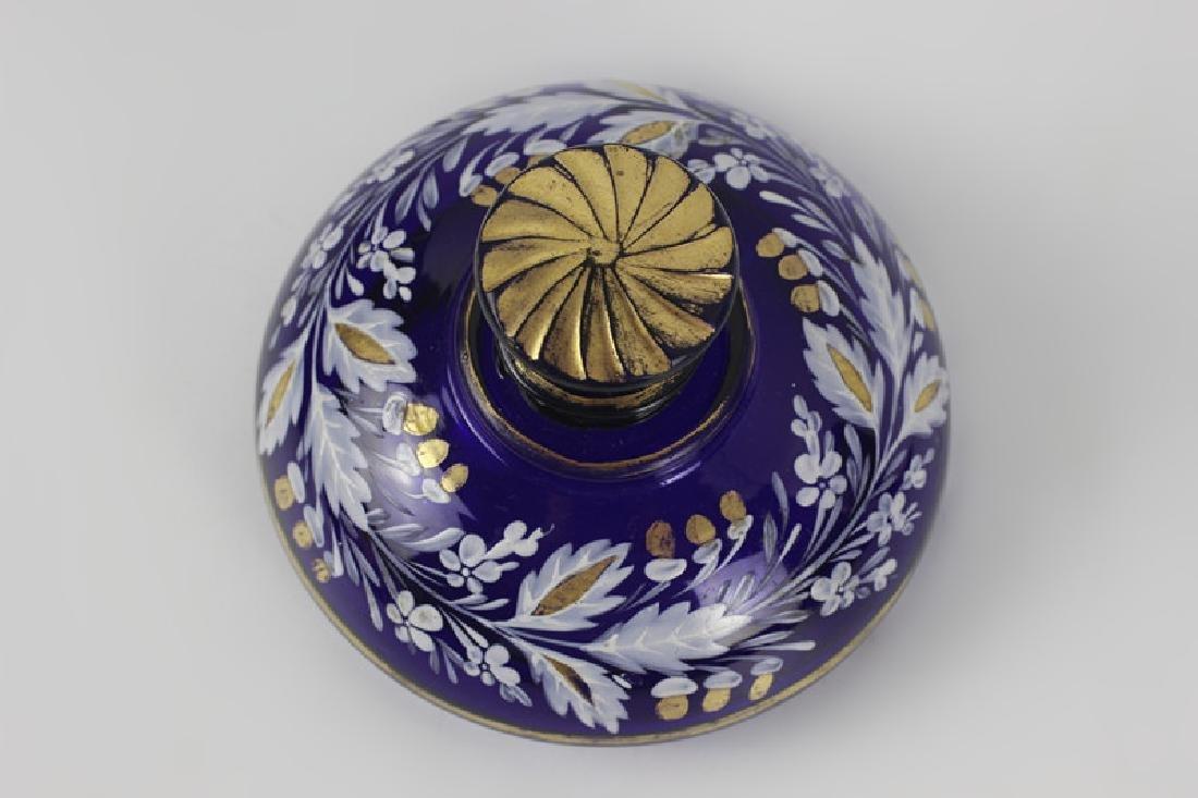 Early Cobalt Blue Covered Vase - 4