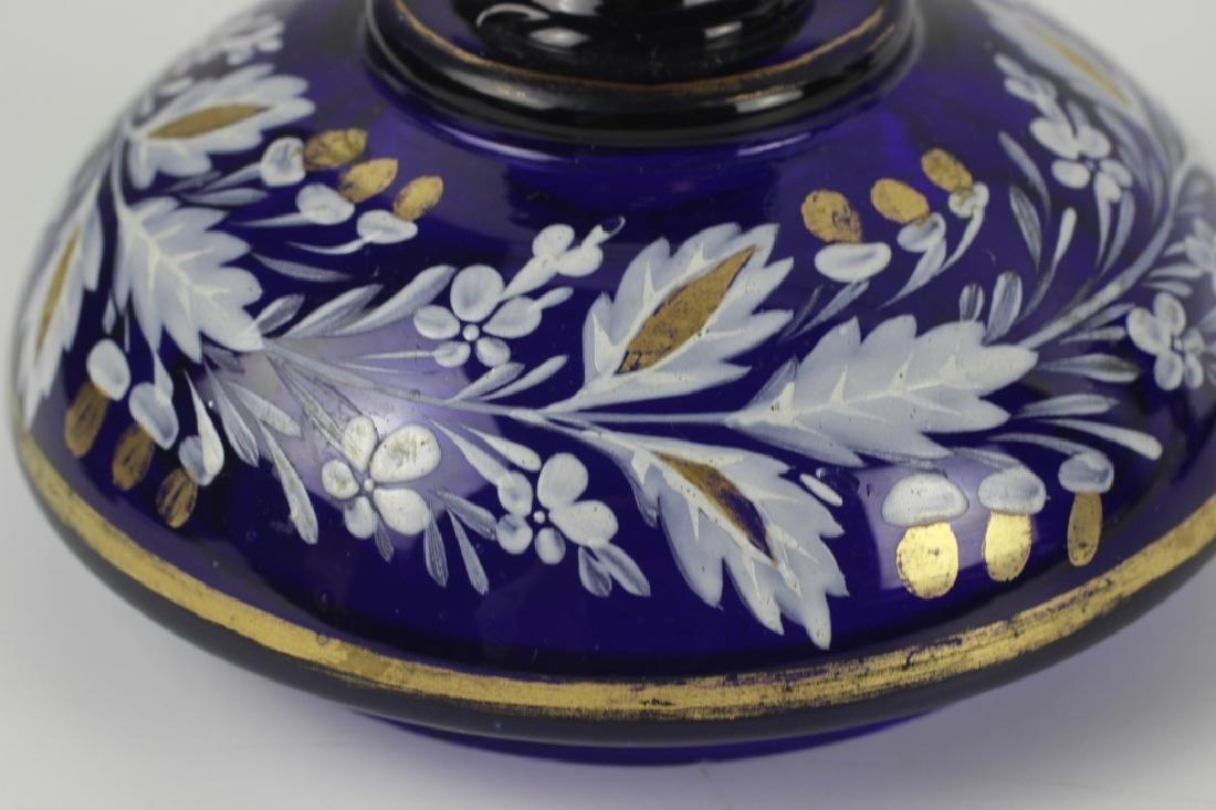Early Cobalt Blue Covered Vase - 8