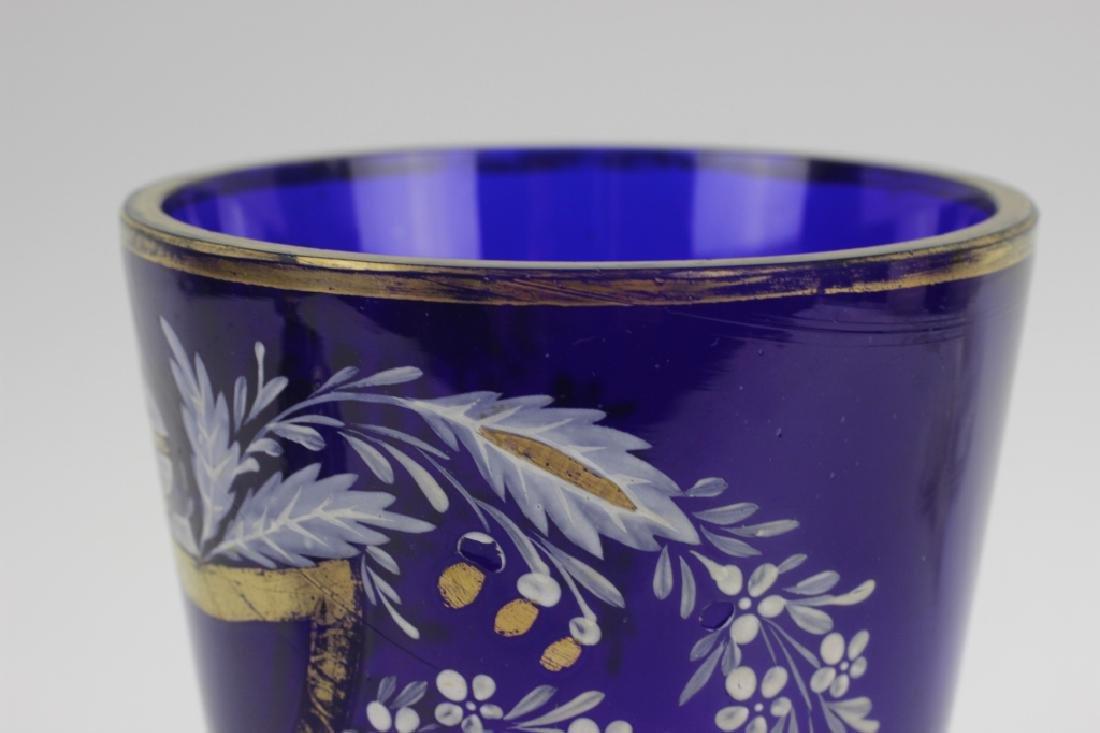 Early Cobalt Blue Covered Vase - 9