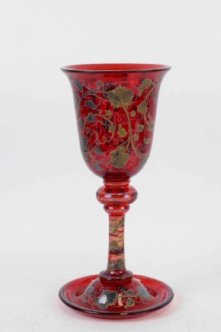 Early Red Bohemian Vase w/ Enamel & Gilding - 2