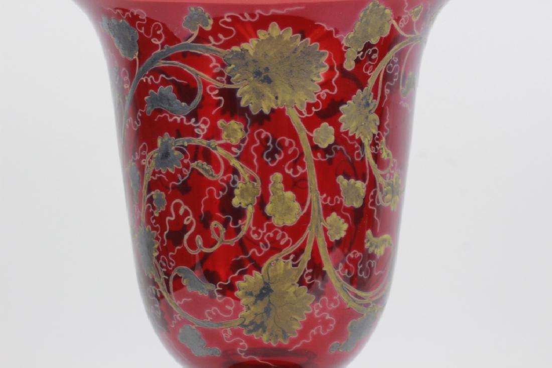 Early Red Bohemian Vase w/ Enamel & Gilding - 3