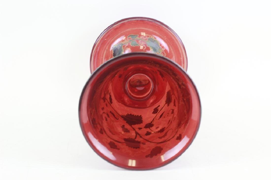 Early Red Bohemian Vase w/ Enamel & Gilding - 8