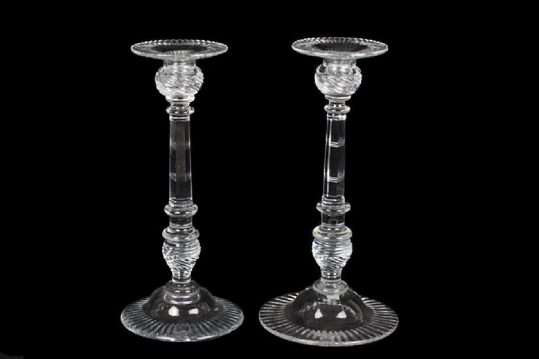 2 Similar Large Cut Crystal Candlesticks