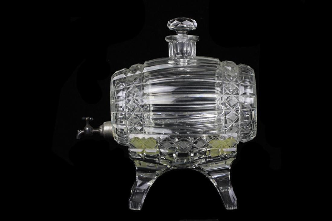 Cut Crystal Barrel Shape Liquor Dispenser w/ Stand