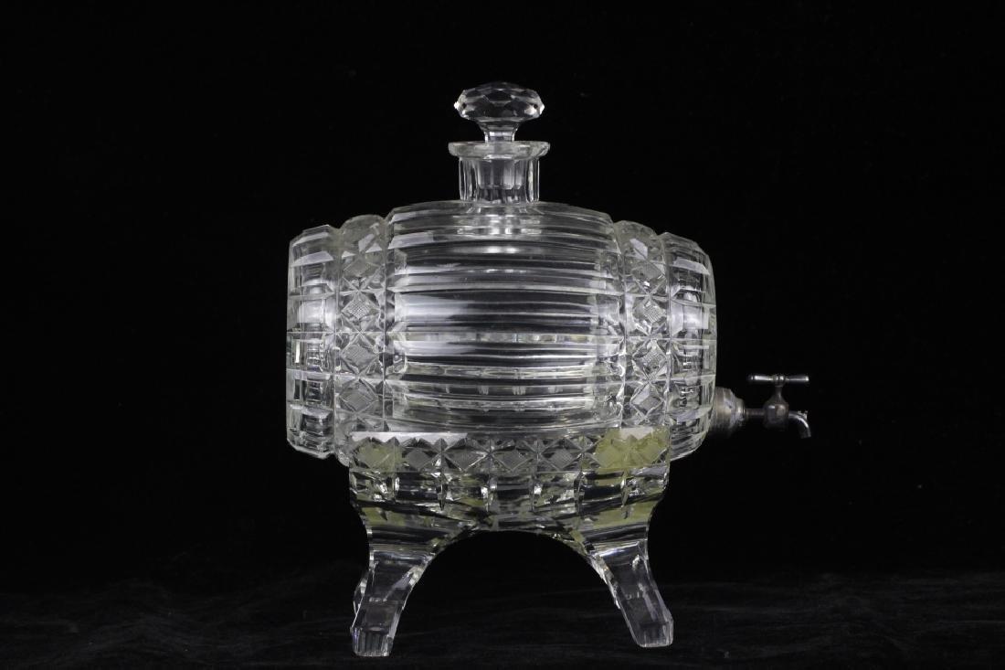 Cut Crystal Barrel Shape Liquor Dispenser w/ Stand - 6