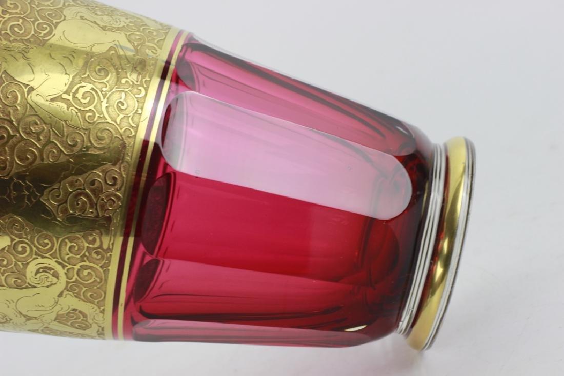 Moser Czech Art Deco Red Glass Vase - 10