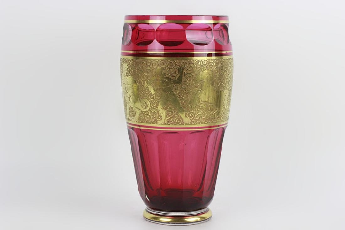 Moser Czech Art Deco Red Glass Vase