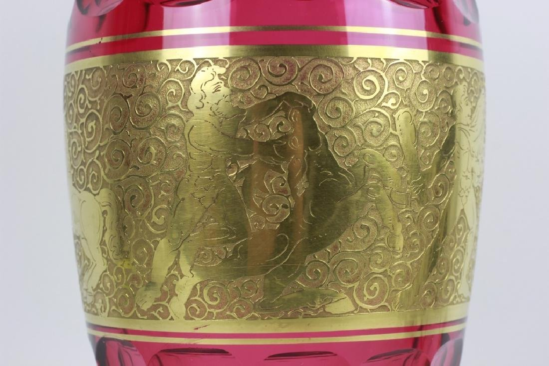 Moser Czech Art Deco Red Glass Vase - 2