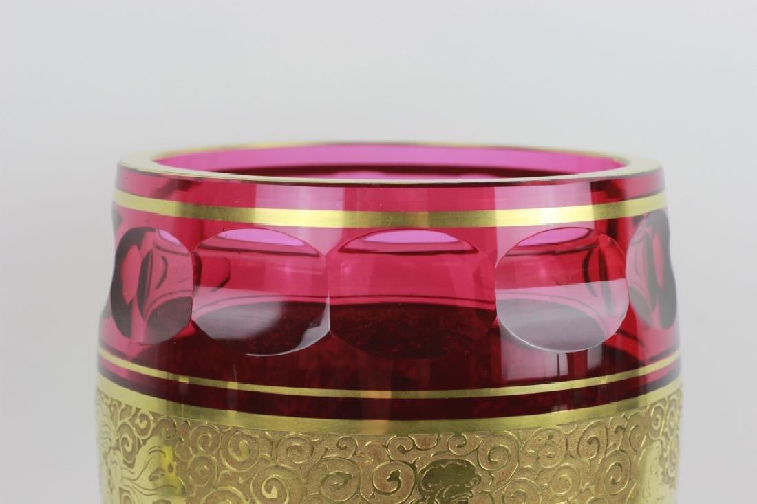 Moser Czech Art Deco Red Glass Vase - 6