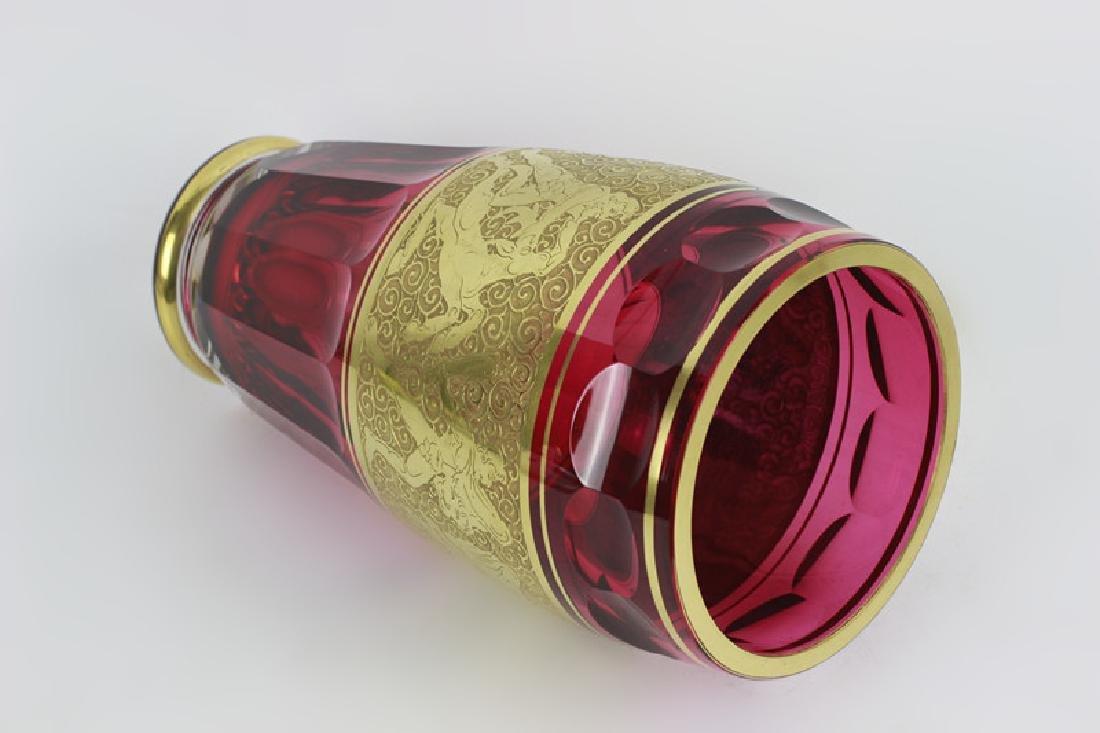 Moser Czech Art Deco Red Glass Vase - 8