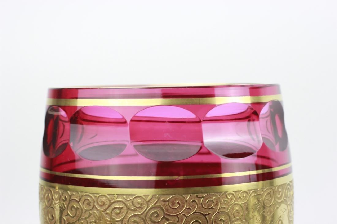 Moser Czech Art Deco Red Glass Vase - 9
