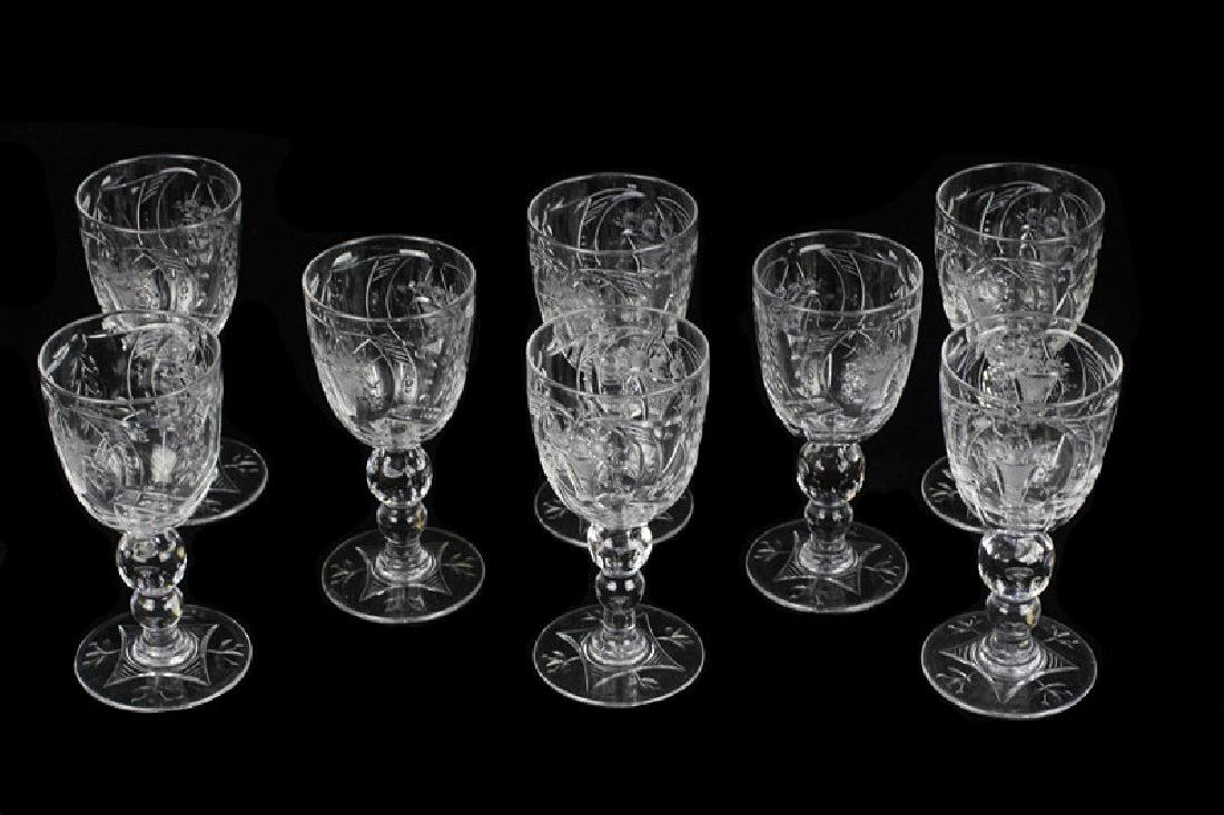 8 Webb Cut Crystal Port Glasses, All Signed