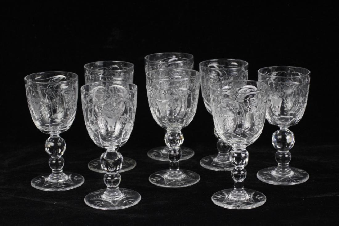 8 Webb Cut Crystal Port Glasses, All Signed - 6