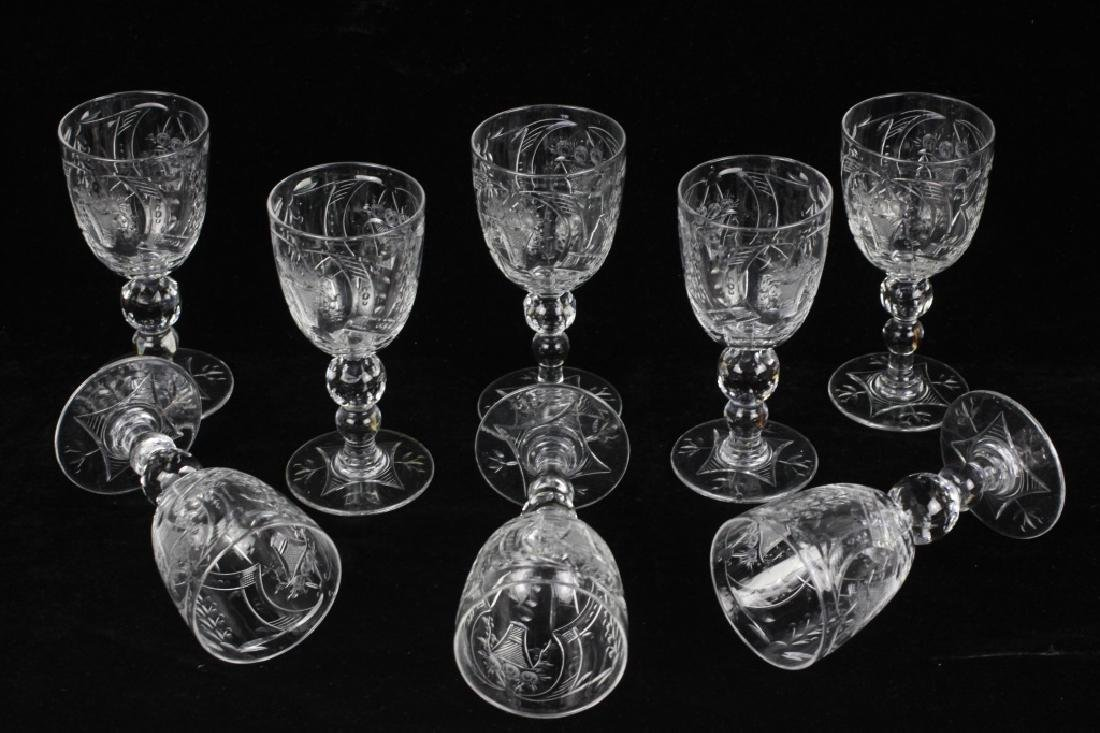8 Webb Cut Crystal Port Glasses, All Signed - 7