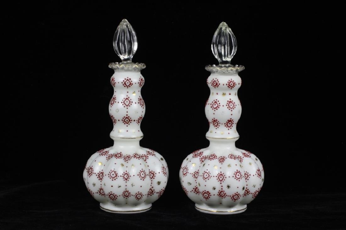 Pair of 19thc Enameled Perfume Bottles