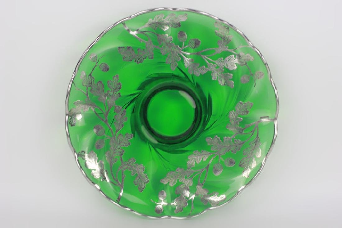 Green Glass Footed Platter w/ Sterling Silver