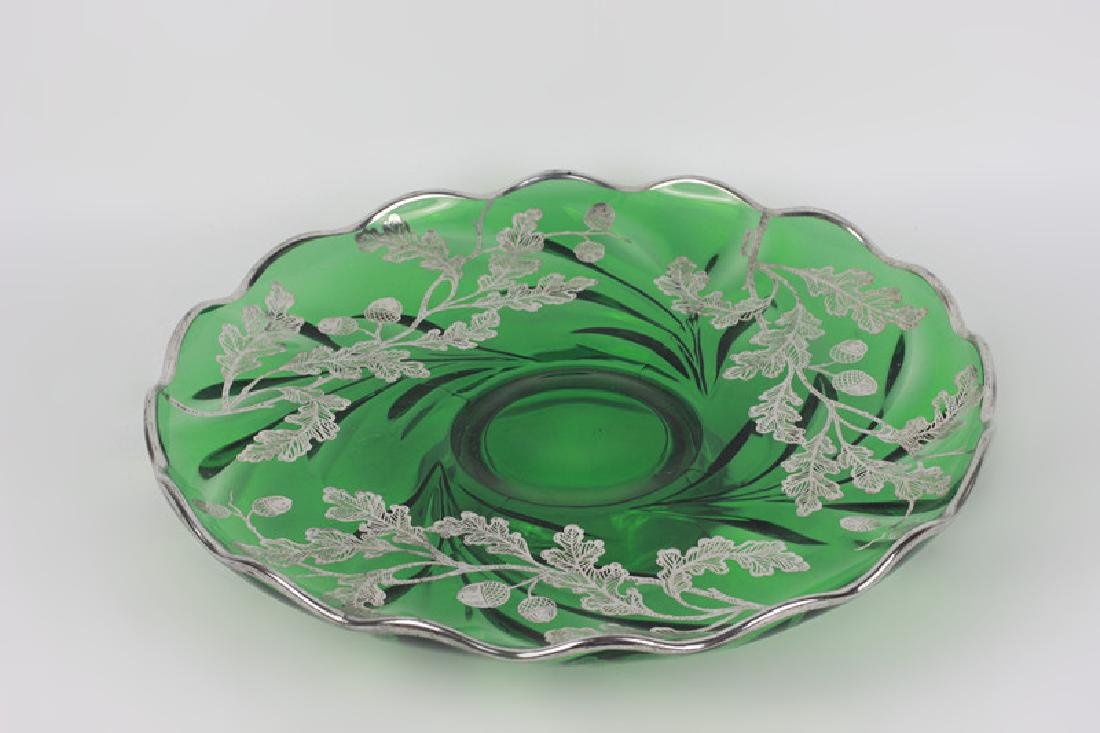 Green Glass Footed Platter w/ Sterling Silver - 2