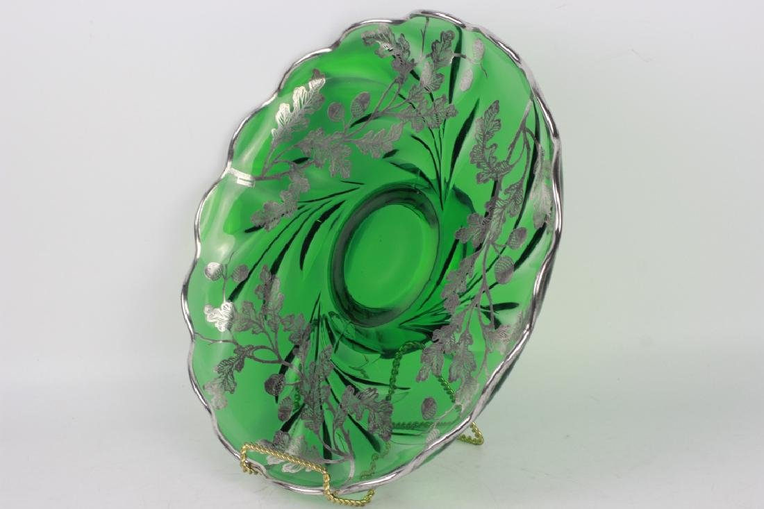 Green Glass Footed Platter w/ Sterling Silver - 3