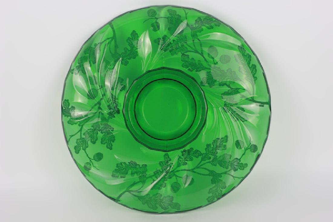 Green Glass Footed Platter w/ Sterling Silver - 4