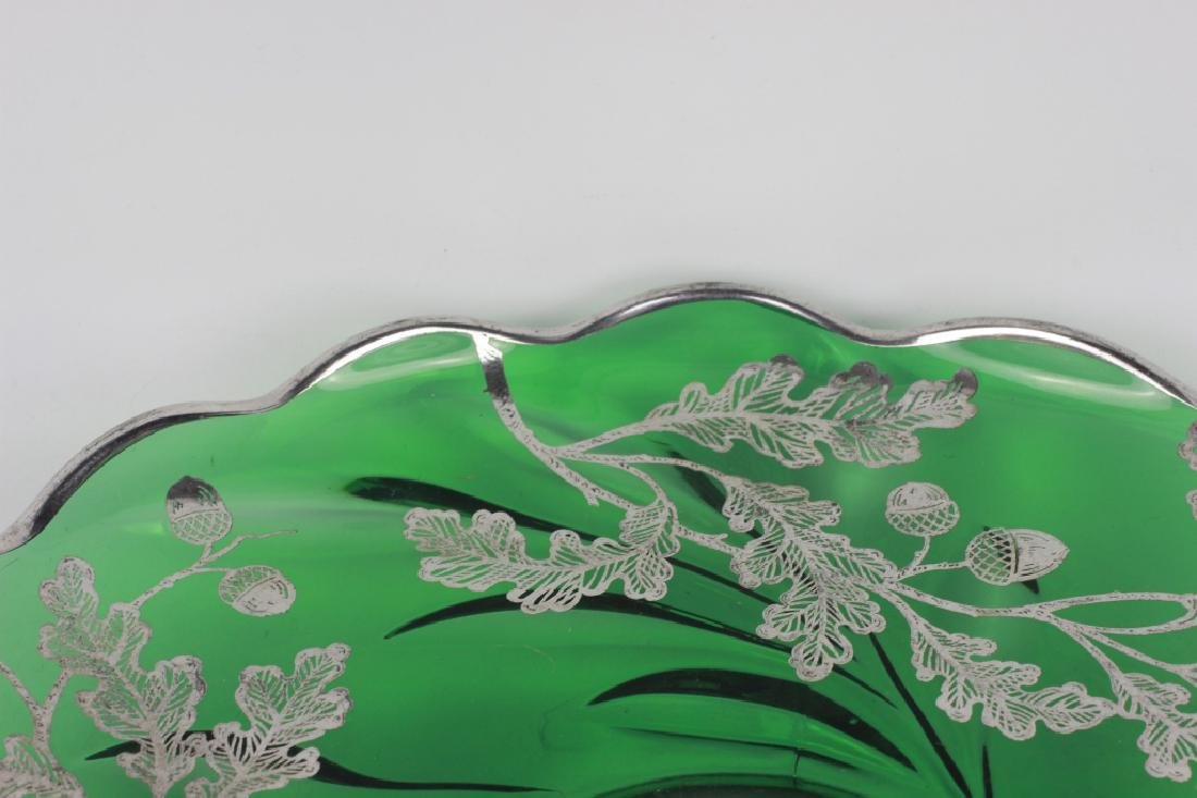 Green Glass Footed Platter w/ Sterling Silver - 5