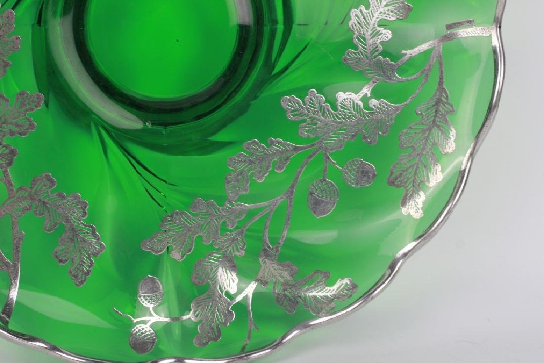 Green Glass Footed Platter w/ Sterling Silver - 7