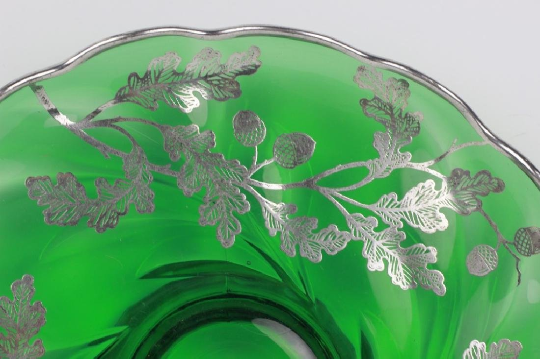 Green Glass Footed Platter w/ Sterling Silver - 8