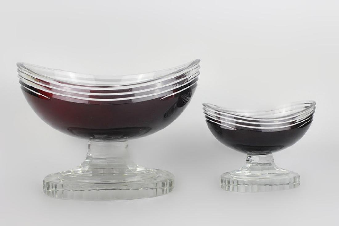 2 Art Deco Ruby Red Cut Clear Czech Footed Bowls