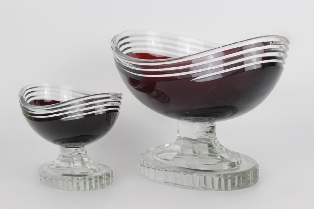 2 Art Deco Ruby Red Cut Clear Czech Footed Bowls - 2
