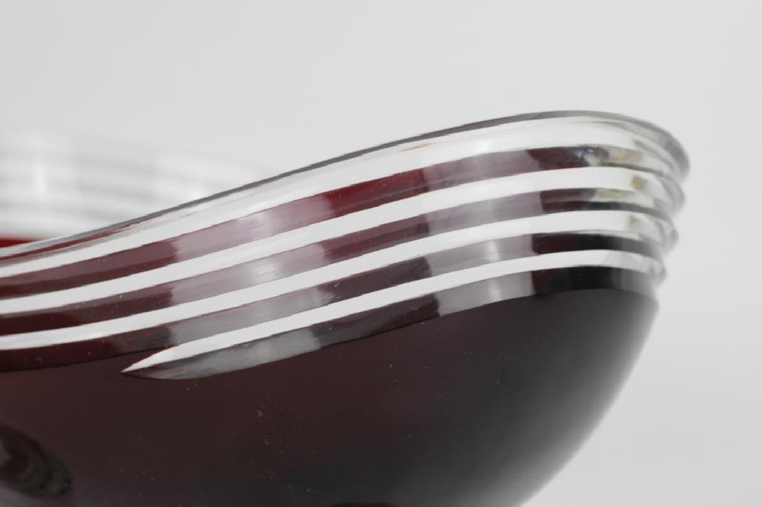 2 Art Deco Ruby Red Cut Clear Czech Footed Bowls - 3
