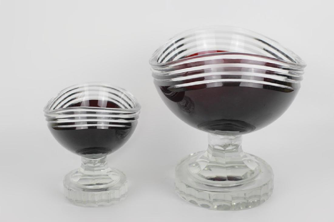 2 Art Deco Ruby Red Cut Clear Czech Footed Bowls - 5