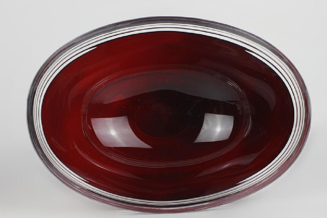 2 Art Deco Ruby Red Cut Clear Czech Footed Bowls - 7