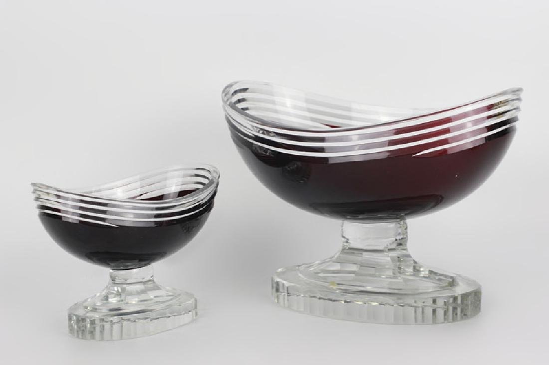 2 Art Deco Ruby Red Cut Clear Czech Footed Bowls - 8