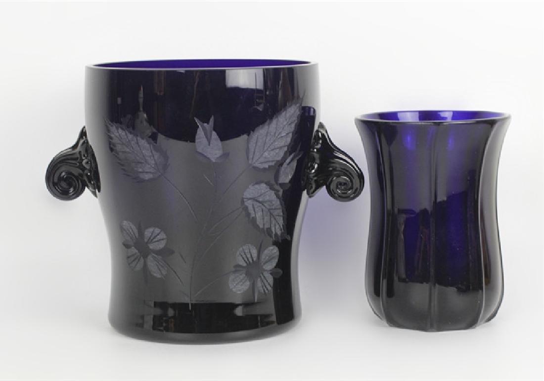 2 Cobalt Blue Glass Items
