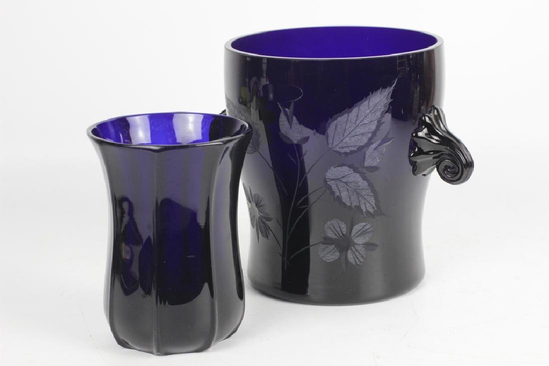 2 Cobalt Blue Glass Items - 2