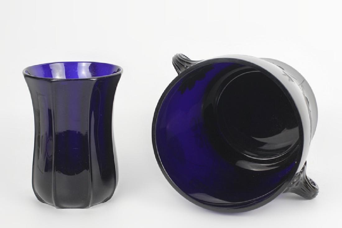 2 Cobalt Blue Glass Items - 7