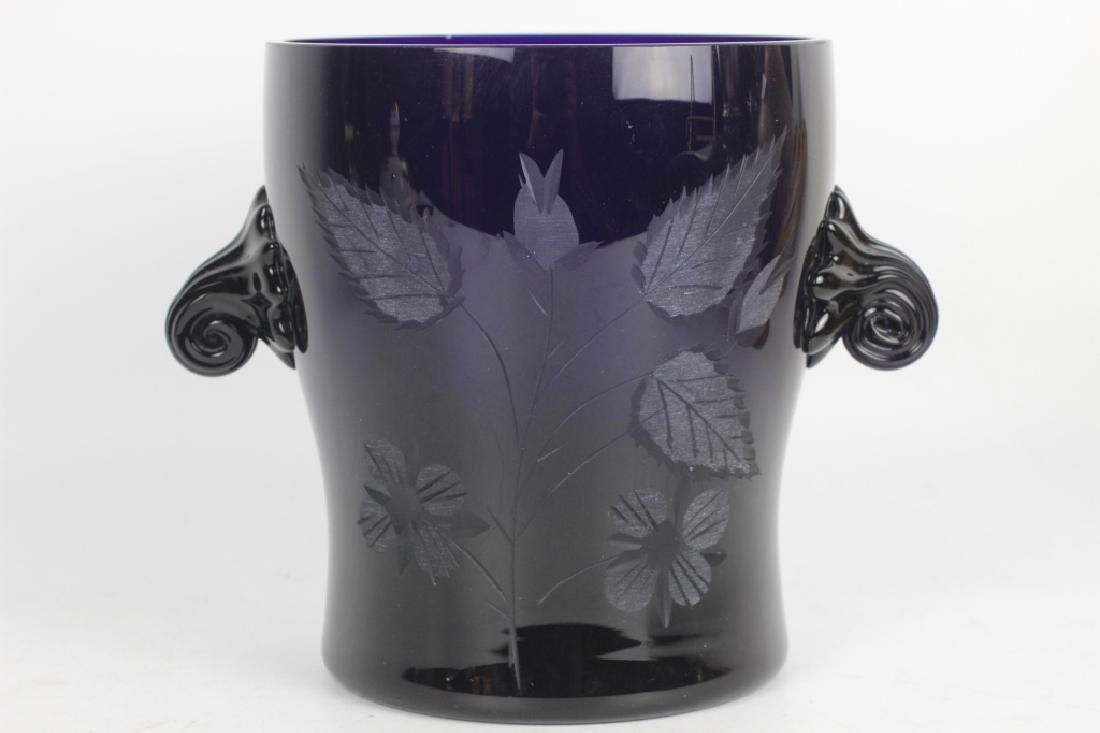 2 Cobalt Blue Glass Items - 8