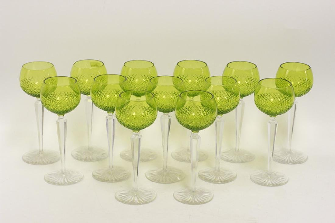 13 Cut Glass, Green & Clear Wine Glasses